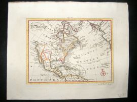 Bell C1790 Antique Hand Colored Map. North America, USA, Canada